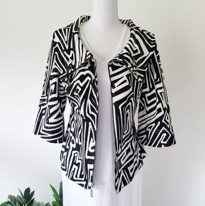 St. John Black White Modern Swirl Dress Jacket 12